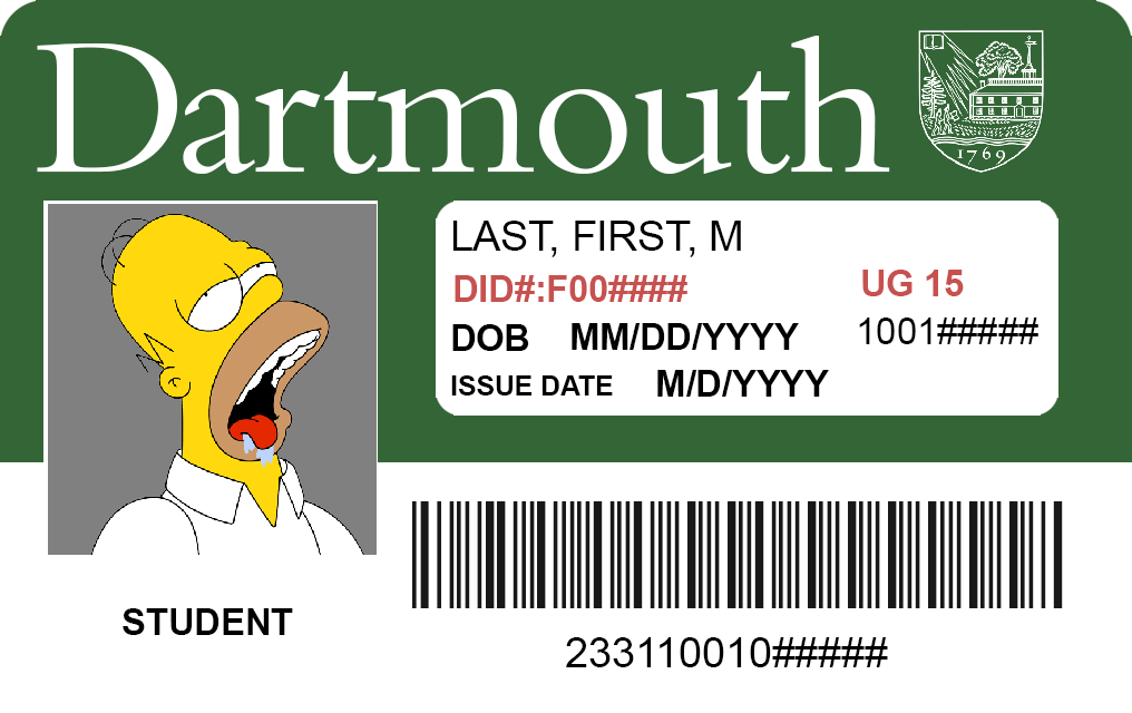 Front Homer Simpson Dartmouth ID